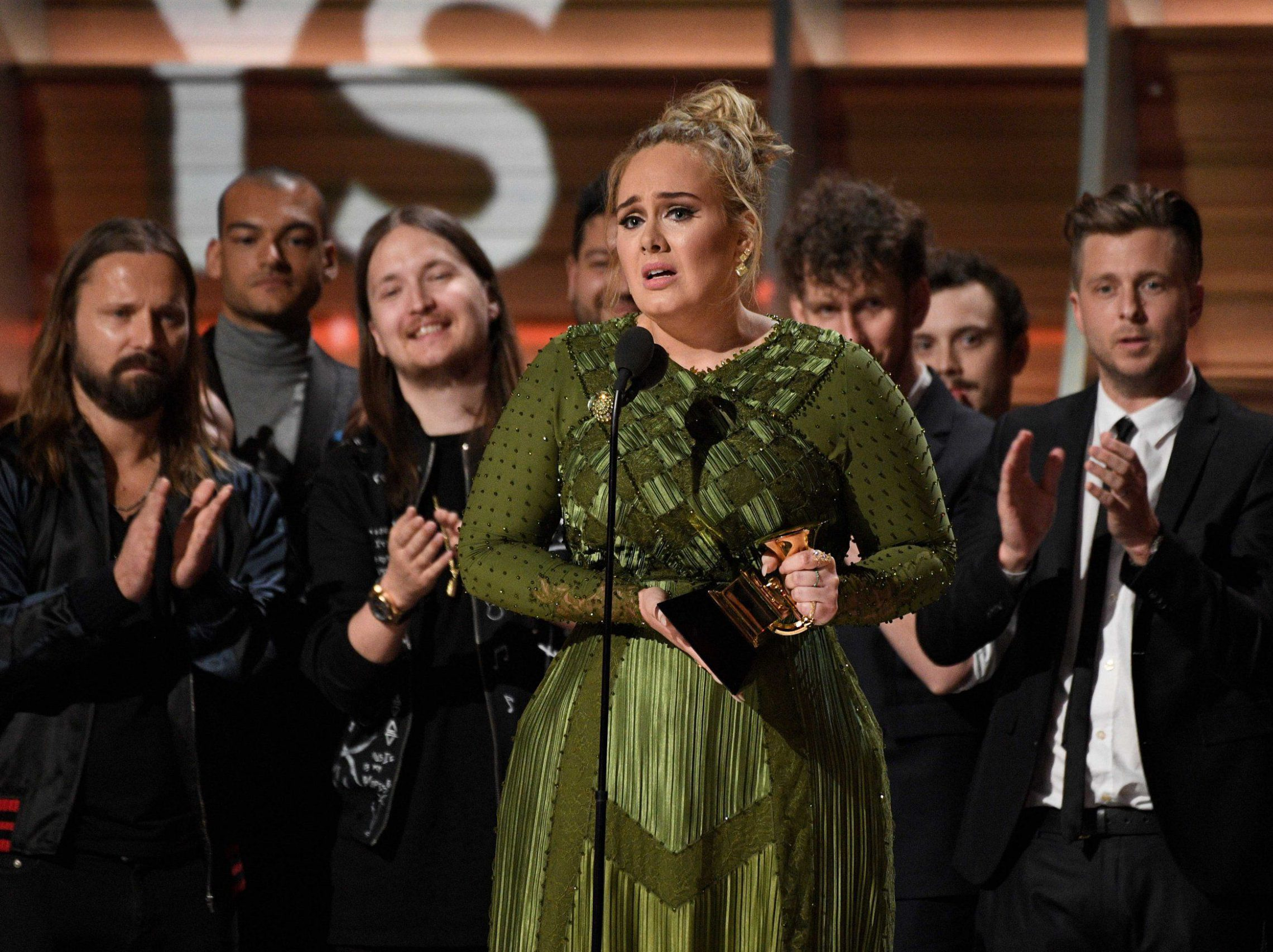 Mandatory Credit: Photo by ddp USA/REX/Shutterstock (8345070dx) Adele receives Album of the Year 59th Annual Grammy Awards, Show, Los Angeles, USA - 12 Feb 2017