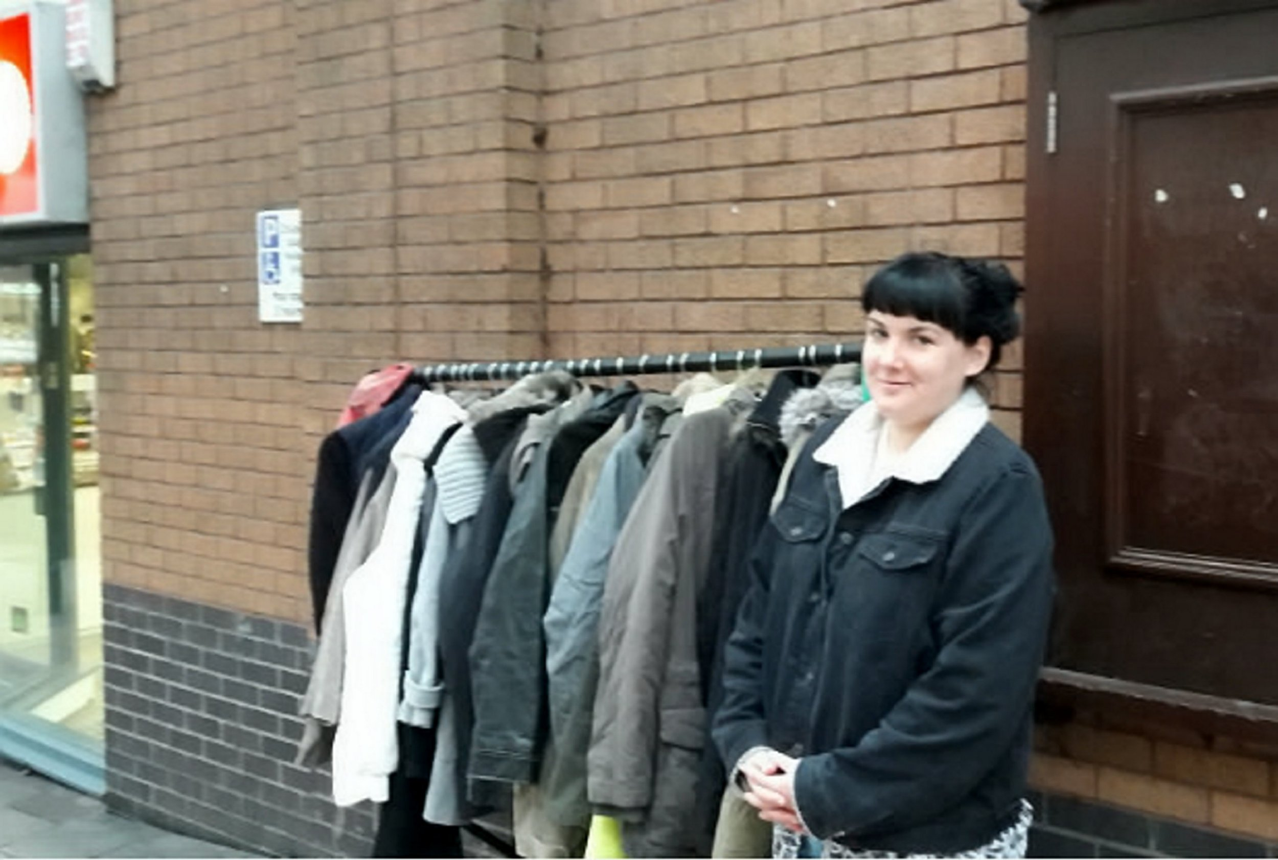 """Sarah Jade organised the charity installation. A clothes rail filled with coats for the homeless has been stolen - within 24 hours of being left in the street. See SWNS story SWRAIL; Volunteers set up the free-standing frame in central Bristol on Sunday afternoon in the hope of providing warmth for rough sleepers. But by Monday morning the entire rail and 20 coats had been stolen. Sarah Jade organised the charity installation by appealing on Facebook for people to donate their unwanted outerwear. """"I'm really sad this has happened,"""" she said. """"It wasn't in the way or taking up a lot of room, and all we wanted to do was show people that we care. """"The Facebook response was brilliant. We just wanted to help where we could."""""""