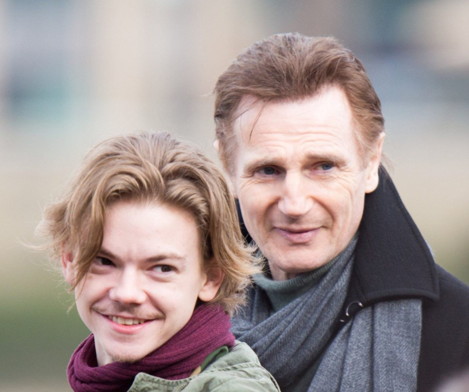 Liam Neeson, Richard Curtis, Olivia Olson and Thomas Brodie Sangster film a reunion scene for the upcoming Love Actually short Movie. Featuring: Liam Neeson, richard curtis, Olivia Olson, Thomas Brodie Sangster Where: London, United Kingdom When: 16 Feb 2017 Credit: WENN.com
