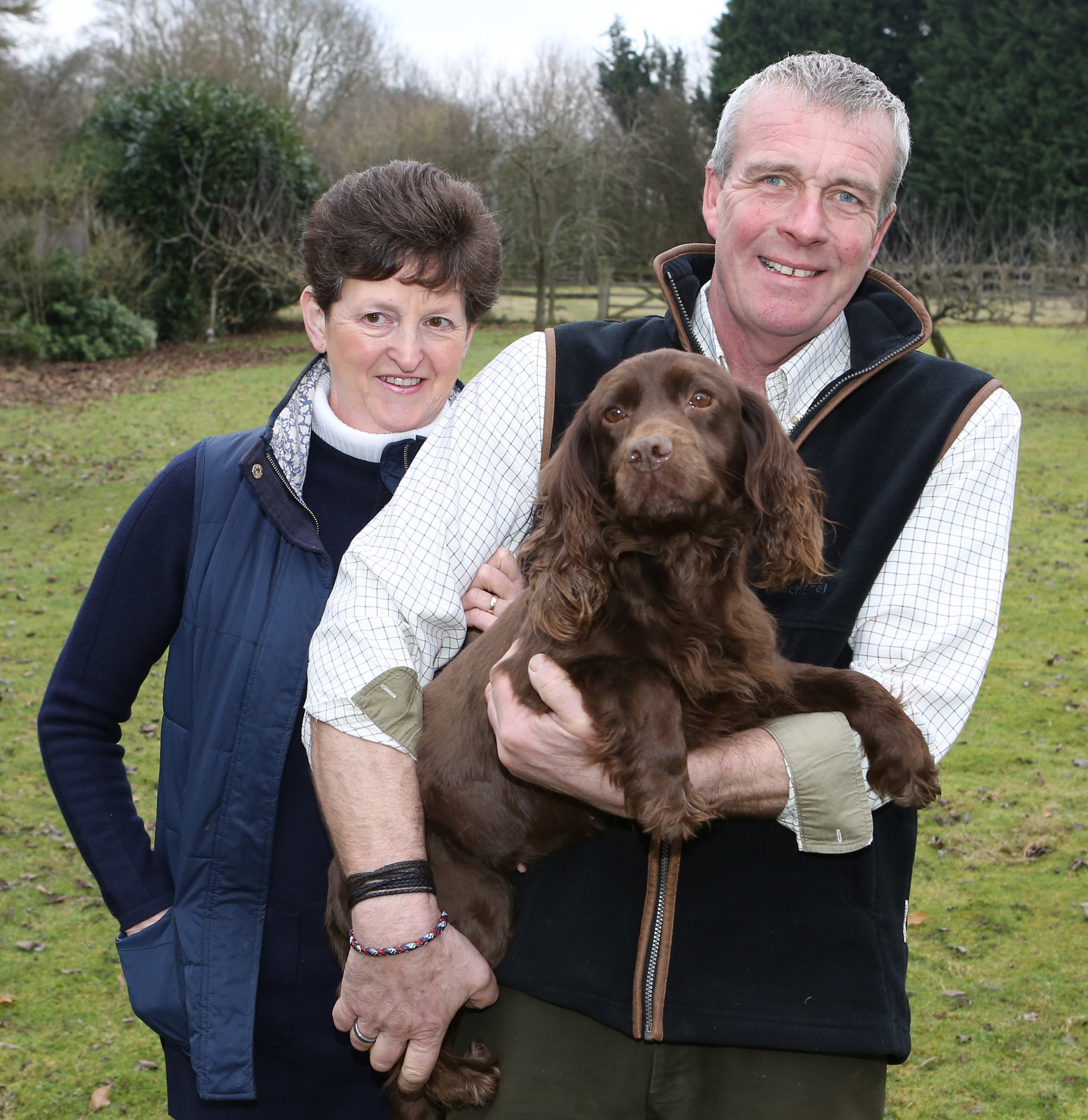 PIC SHOWS; Tina And Graham Denning at there home in Staplehurst Kent,with there rescued dog Islay who was kidnapped and found 2 weeks later at a traveller site in Kent by Kent Police Unit