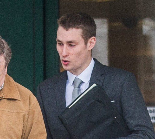 """Callum Fennell leaves the Plymouth Crown Court in Devon. Callum stands trail charged on account of rape. 20/02/2017 A Royal Navy officer raped a woman while she slept before texting his MUM to tell her what he did, a court heard. See story SWRAPE. Callum Fennell, 25, is accused of having sex with the woman while she was asleep. The father-of-one, who is based in Portsmouth, denied the rape and said it was consensual. But text messages revealed in court today (Mon) revealed that Fennell text his mum following the incident saying: """"Mum, I had sex with her last night when I shouldn't have"""".Plymouth Crown Court heard that the alleged incident took place in April 1, 2016. The woman said she awoke to find Fennell having sex with her. She then cried herself to sleep."""