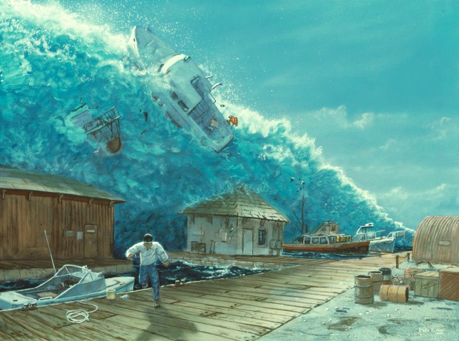 Tsunami. Artwork of a tsunami as it destroys boats in a small harbour. A man is seen running in a futile attempt to escape. Tsunamis are giant waves caused by seismic activity, such as an earthquake or volcanic eruption. In the open sea they exist as flat but extremely fast waves, moving at almost 1000 kilometres per hour in some cases. As they enter shallower water, the waves steepen as their fronts are slowed, and they may rise to heights of over 30 metres. They are sometimes incorrectly referred to as tidal waves, as they are unrelated to regular tidal movements. The largest wave ever recorded was 85 metres tall, and hit Japan in 1771.