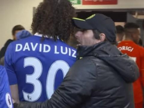Chelsea boss Antonio Conte bear hugs David Luiz after being told Arsenal lost to Watford