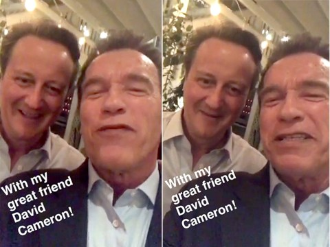 David Cameron poses with Arnold Schwarzenegger on snapchat vowing 'I'll be back'