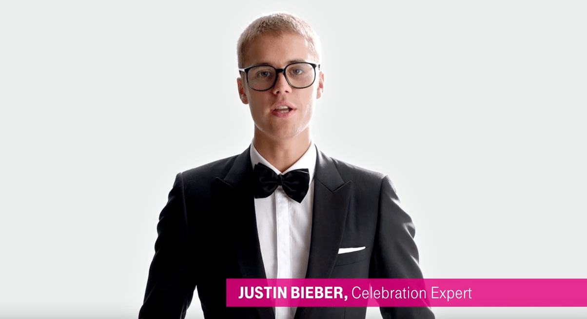 Justin Biber clad in a bow tie and suit is a 'Celebration Expert' in the Superbowl ad