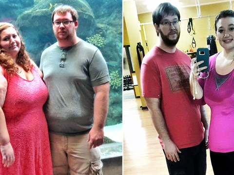 Couple sheds half of their body fat in a year and here's how they did it