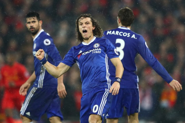LIVERPOOL, ENGLAND - JANUARY 31: David Luiz (C) of Chelsea celebrates scoring the opening goal during the Premier League match between Liverpool and Chelsea at Anfield on January 31, 2017 in Liverpool, England. (Photo by Clive Mason/Getty Images)