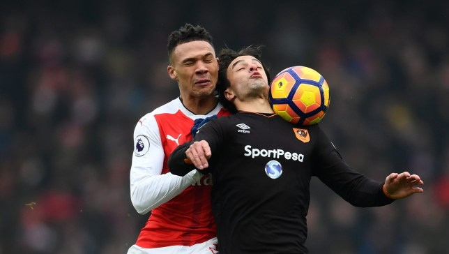 LONDON, ENGLAND - FEBRUARY 11: Lazar Markovic of Hull City is fouled by Kieran Gibbs of Arsenal during the Premier League match between Arsenal and Hull City at Emirates Stadium on February 11, 2017 in London, England. (Photo by Laurence Griffiths/Getty Images)