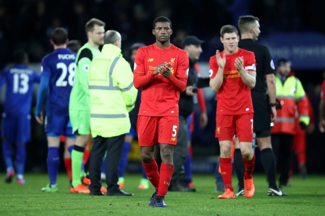 LEICESTER, ENGLAND - FEBRUARY 27: Georginio Wijnaldum of Liverpool applauds suporters following defeat during the Premier League match between Leicester City and Liverpool at The King Power Stadium on February 27, 2017 in Leicester, England. (Photo by Julian Finney/Getty Images)