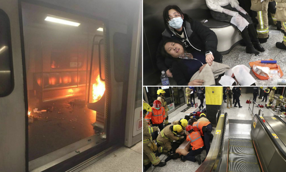 Burning people run from carriage after fire on Hong Kong subway