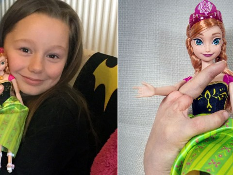 Girl, 7, cries with happiness after receiving doll with same disabilities as her