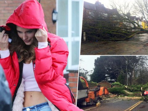 Coronation Street stars Helen Flanagan and Brooke Vincent battle bad weather as Storm Doris 'halts filming outside'