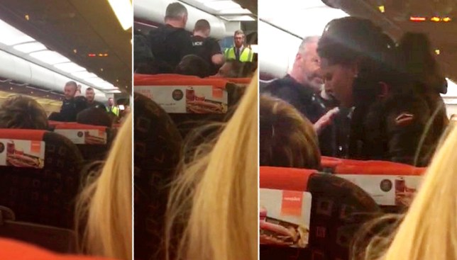 Moment two 'rowdy' women 'who shouted Allahu Akbar' are escorted off an easyJet plane at Stansted airport to the delight of their fellow passengers