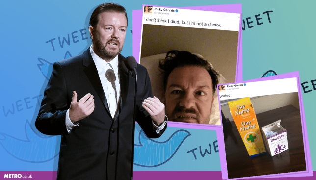 Ricky Gervais stopped a live show in Bristol over fears he was having a heart attack (Picture: REX/Twitter)