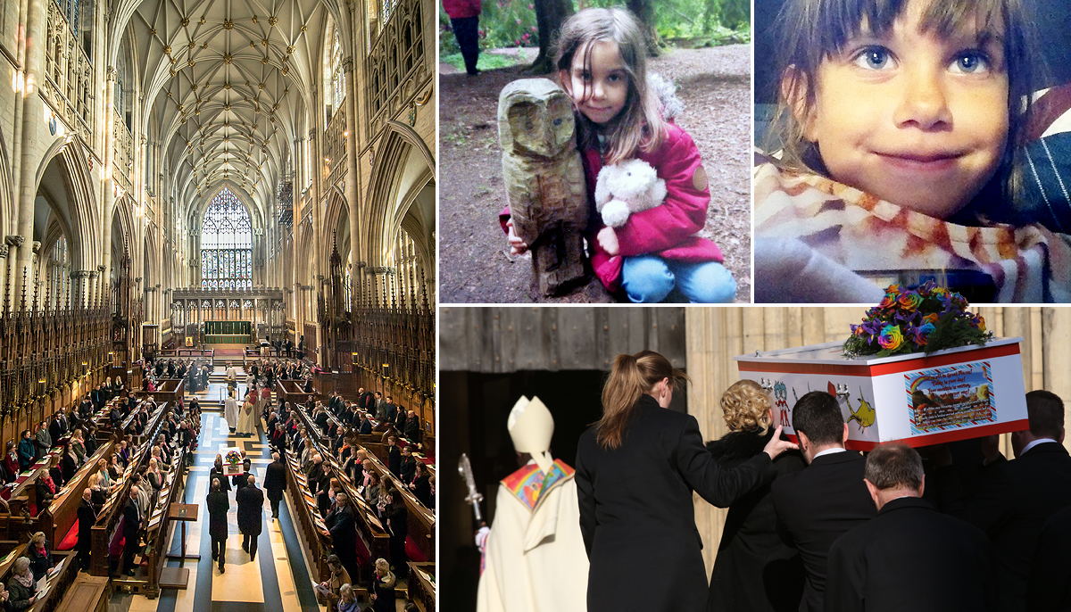 Funeral take places of Katie Rough, 7, who was found with slashed neck and chest