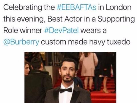 Baftas 2017: Best Supporting Actor winner Dev Patel identified as Riz Ahmed in 'racist' tweet from Burberry