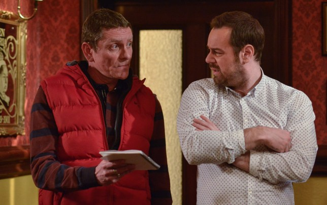WARNING: Embargoed for publication until 00:00:01 on 14/02/2017 - Programme Name: EastEnders - January-March 2017 - TX: 23/02/2017 - Episode: EastEnders - January-March 2017 - 5448 (No. n/a) - Picture Shows: *STRICTLY NOT FOR PUBLICATION UNTIL 00:01HRS, TUESDAY 14th FEBRUARY, 2017* The plumber tells Mick it will be a big job to fix the leaks. Bob (MUNRO GRAHAM), Mick Carter (DANNY DYER) - (C) BBC - Photographer: Gary Moyes