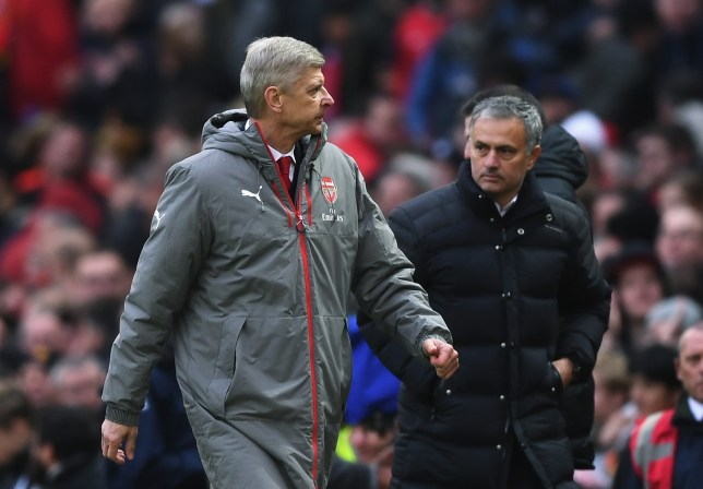 MANCHESTER, ENGLAND - NOVEMBER 19: Arsene Wenger, Manager of Arsenal (L) and Jose Mourinho, Manager of Manchester United (R) walk towards the tunnel after the final whistle during the Premier League match between Manchester United and Arsenal at Old Trafford on November 19, 2016 in Manchester, England. (Photo by Shaun Botterill/Getty Images)