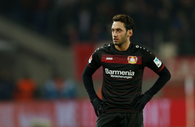 COLOGNE, GERMANY - DECEMBER 21: Hakan Calhanoglu of Leverkusen reacts during the Bundesliga soccer match between 1. FC Cologne and Bayer Leverkusen at the Rhein-Energie stadium in Cologne, Germany on December 21, 2016.    (Photo by Ina Fassbender/Anadolu Agency/Getty Images)