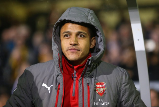 SUTTON, GREATER LONDON - FEBRUARY 20: Alexis Sanchez of Arsenal on the bench during The Emirates FA Cup Fifth Round match between Sutton United and Arsenal on February 20, 2017 in Sutton, Greater London. (Photo by Catherine Ivill - AMA/Getty Images)