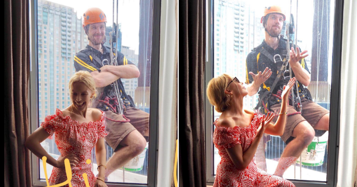 Window cleaner nabs ultimate selfie with Kylie Minogue while working in Sydney hotel