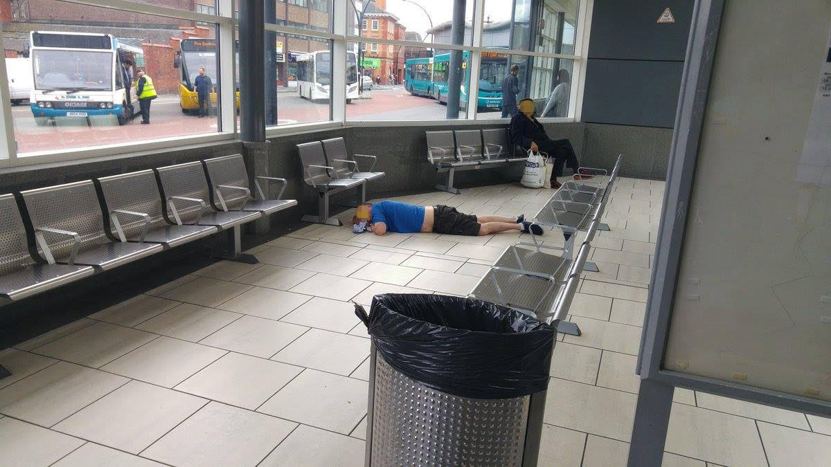 Evidence of drug taking at Wrexham bus station. A man lies collapsed - he may NOT have been taking drugsnCredit to read 'Daily Post Wales/Gavin Rodda' nPayment at your normal rate to:nTrinity Mirror Publishing LtdnPO Box 2003n39 Old Hall StreetnLIVERPOOLnL69 3FRnEnquiries: 0151 472 2589