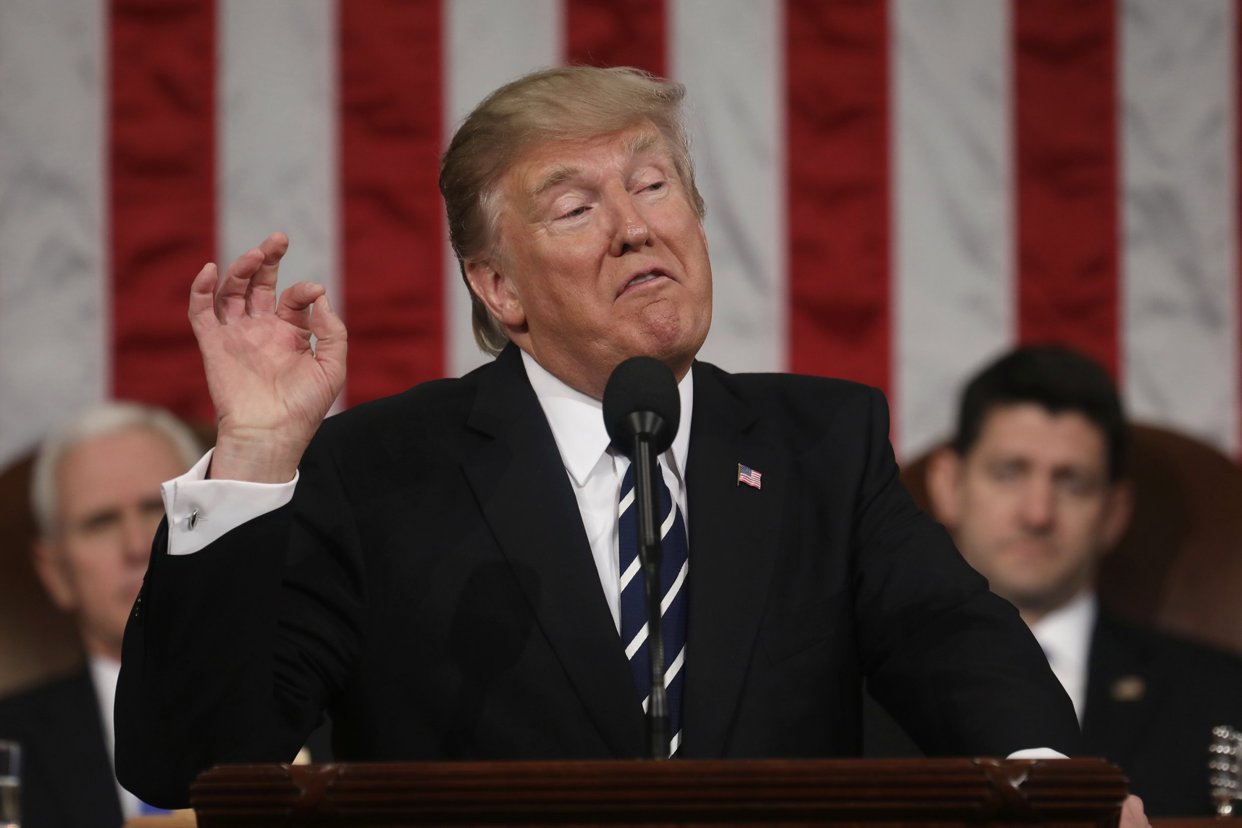 President Donald Trump addresses a joint session of Congress on Capitol Hill in Washington, Tuesday, Feb. 28, 2017. (Jim Lo Scalzo/Pool Image via AP)