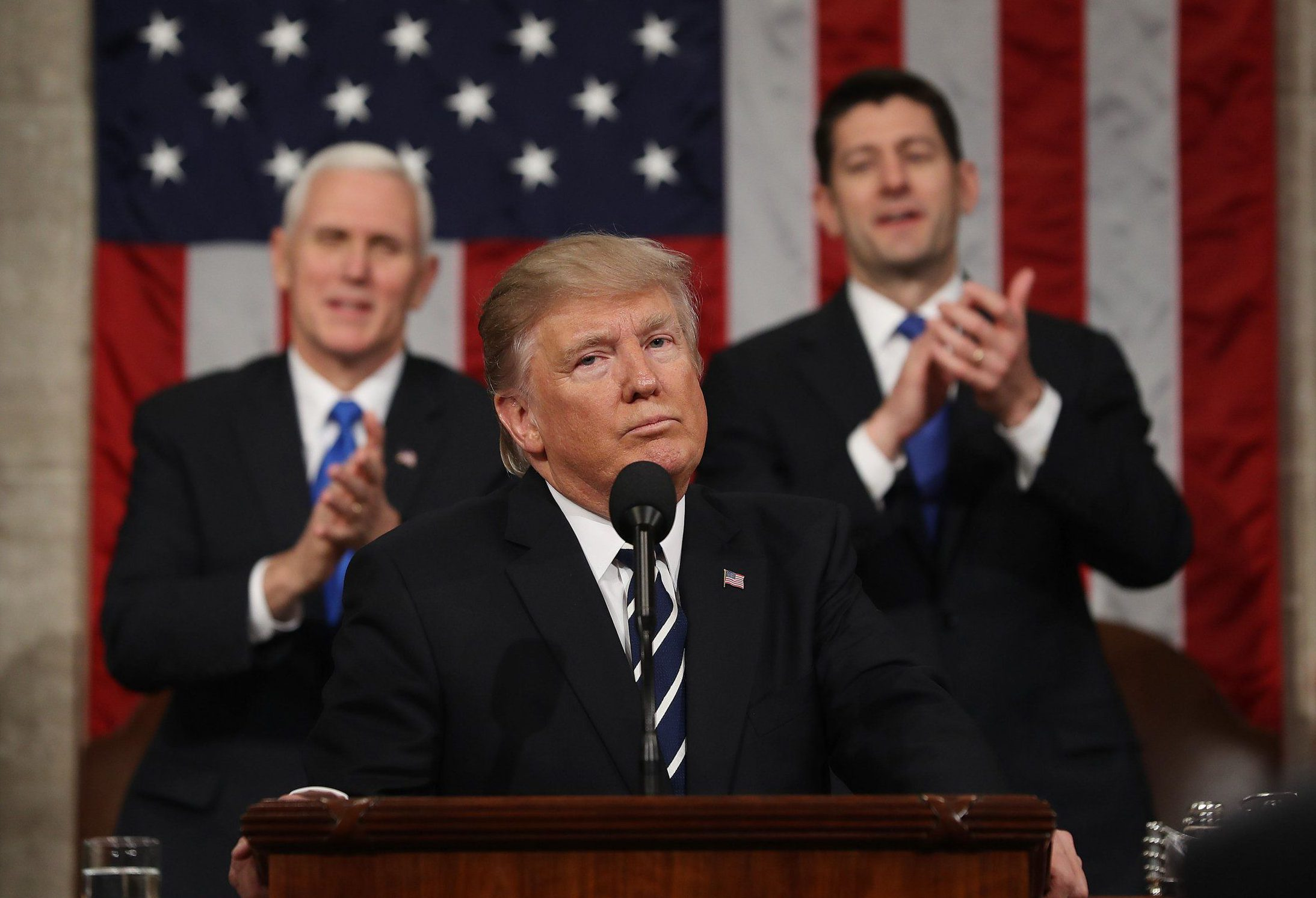 Mandatory Credit: Photo by REX/Shutterstock (8445216t) US President Donald J. Trump reacts after delivering his first address to a joint session of Congress from the floor of the House of Representatives President Donald Trump address Joint Session of Congress, Washington DC - 28 Feb 2017 Traditionally the first address to a joint session of Congress by a newly-elected president is not referred to as a State of the Union.