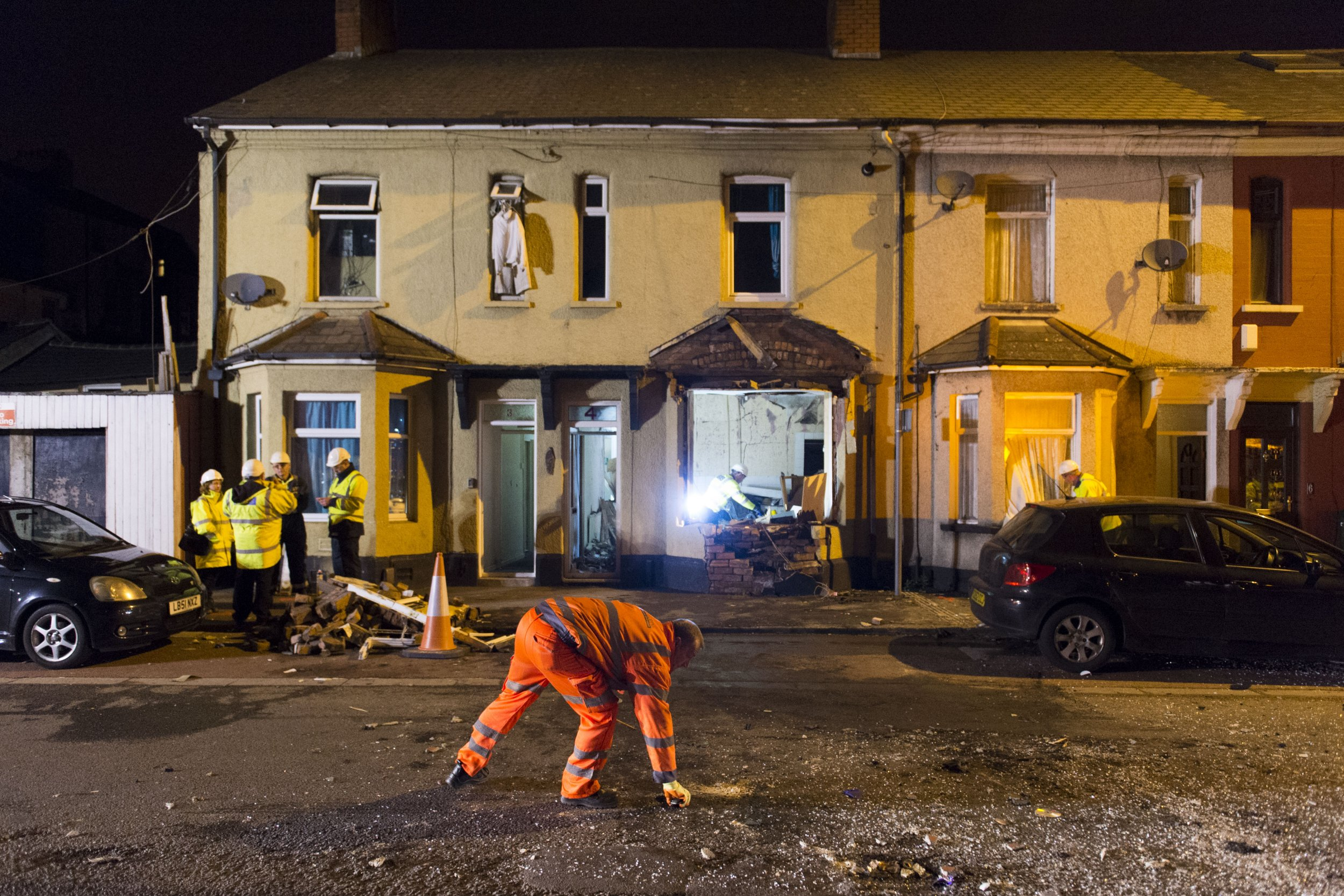 """An arsonist has been jailed for four-and-a-half years - for blowing up his own home during a birthday drinking session. William Flindell, 50, caused £200,000 of damage and lost the use of his hands after filling his flat with gas and setting it off with a lighter. Cardiff Crown Court heard the front of the house in Newport, Gwent, was """"completely blown apart"""" and showered the street in bricks and debris. Witness heard a man shouting """"get out, get out"""" before the explosion. Picture by - Matthew Horwood WALES NEWS SERVICE"""