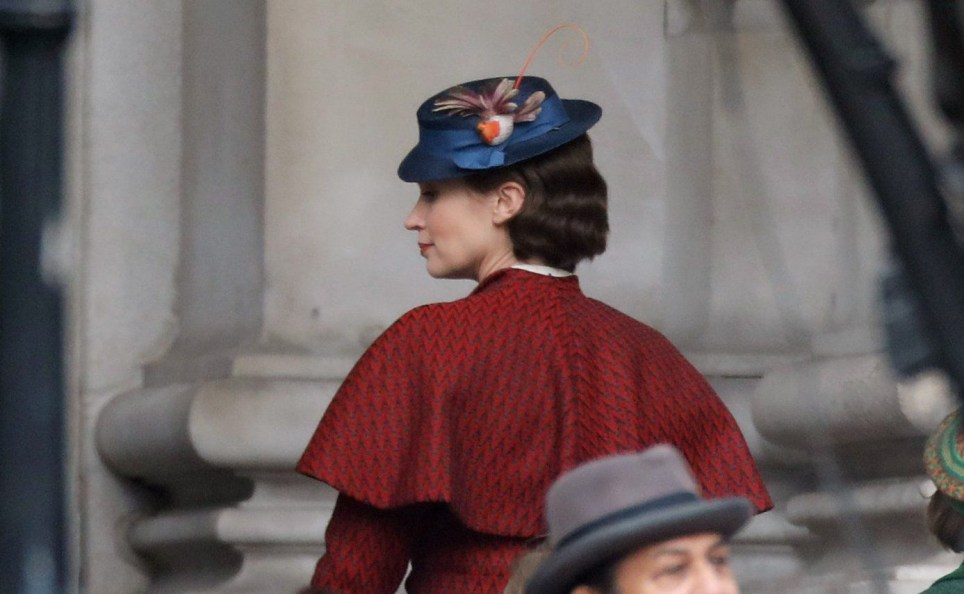 """Picture Shows: Emily Blunt March 04, 2017 * Min web / online fee £500 for set * * Min paper fee £500 * First pictures of Emily Blunt as Mary Poppins in the new Disney feature film remake """"Mary Poppins Returns"""". Emily is seen leading the children up the steps at the Bank Of England. Hundreds of extras and classic vehicles filled the streets and police and film set security directed the traffic. A hen party on a beer bike had to be escorted through the set while filming was interrupted to allow them to pass. * Min web / online fee £500 for set * * Min paper fee £500 * Exclusive Al Rounder WORLDWIDE RIGHTS Pictures by : FameFlynet UK © 2017 Tel : +44 (0)20 3551 5049 Email : info@fameflynet.uk.com"""
