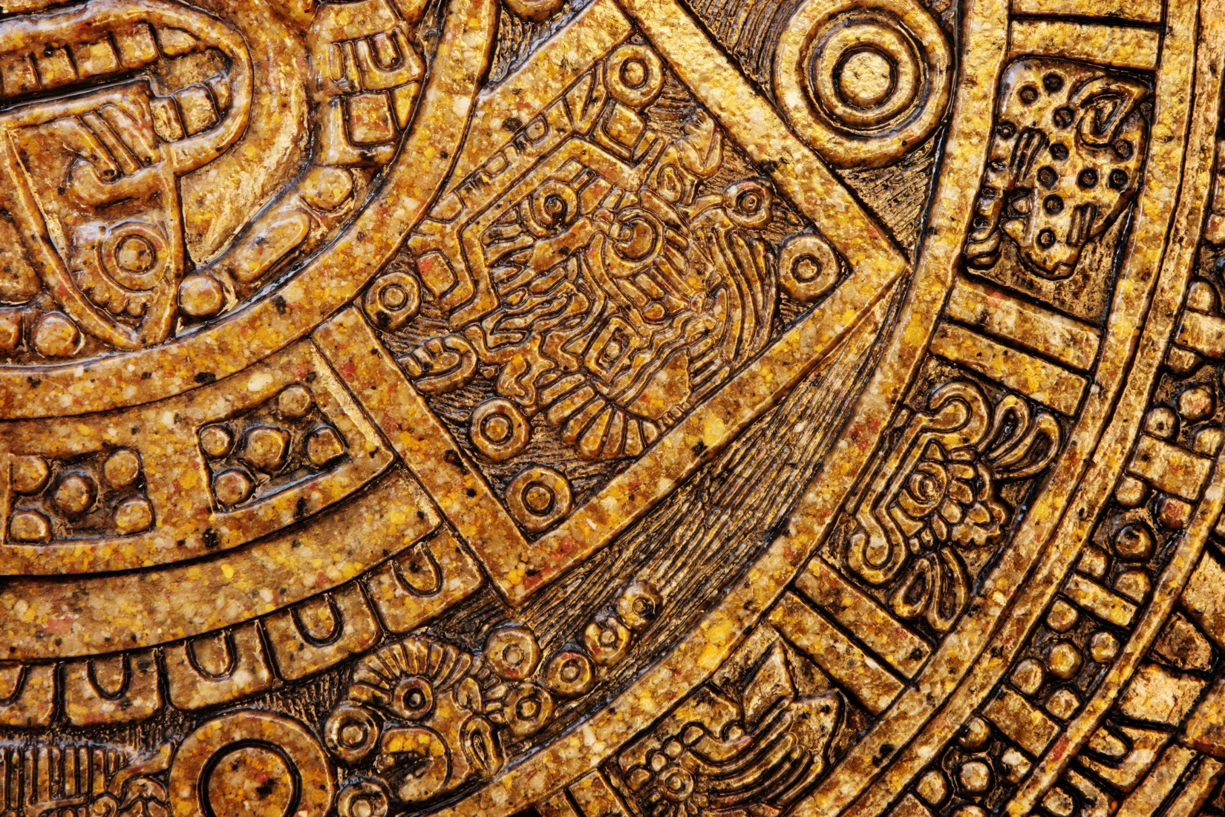 Aztec calender ceramic tile decor.