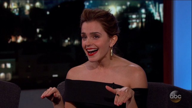 Emma Watson during an appearance on ABC's 'Jimmy Kimmel Live!' Emma promotes the movie 'Beauty and the Beast.' Featuring: Emma Watson Where: United States When: 07 Mar 2017 Credit: Supplied by WENN.com **WENN does not claim any ownership including but not limited to Copyright, License in attached material. Fees charged by WENN are for WENN's services only, do not, nor are they intended to, convey to the user any ownership of Copyright, License in material. By publishing this material you expressly agree to indemnify, to hold WENN, its directors, shareholders, employees harmless from any loss, claims, damages, demands, expenses (including legal fees), any causes of action, allegation against WENN arising out of, connected in any way with publication of the material.**