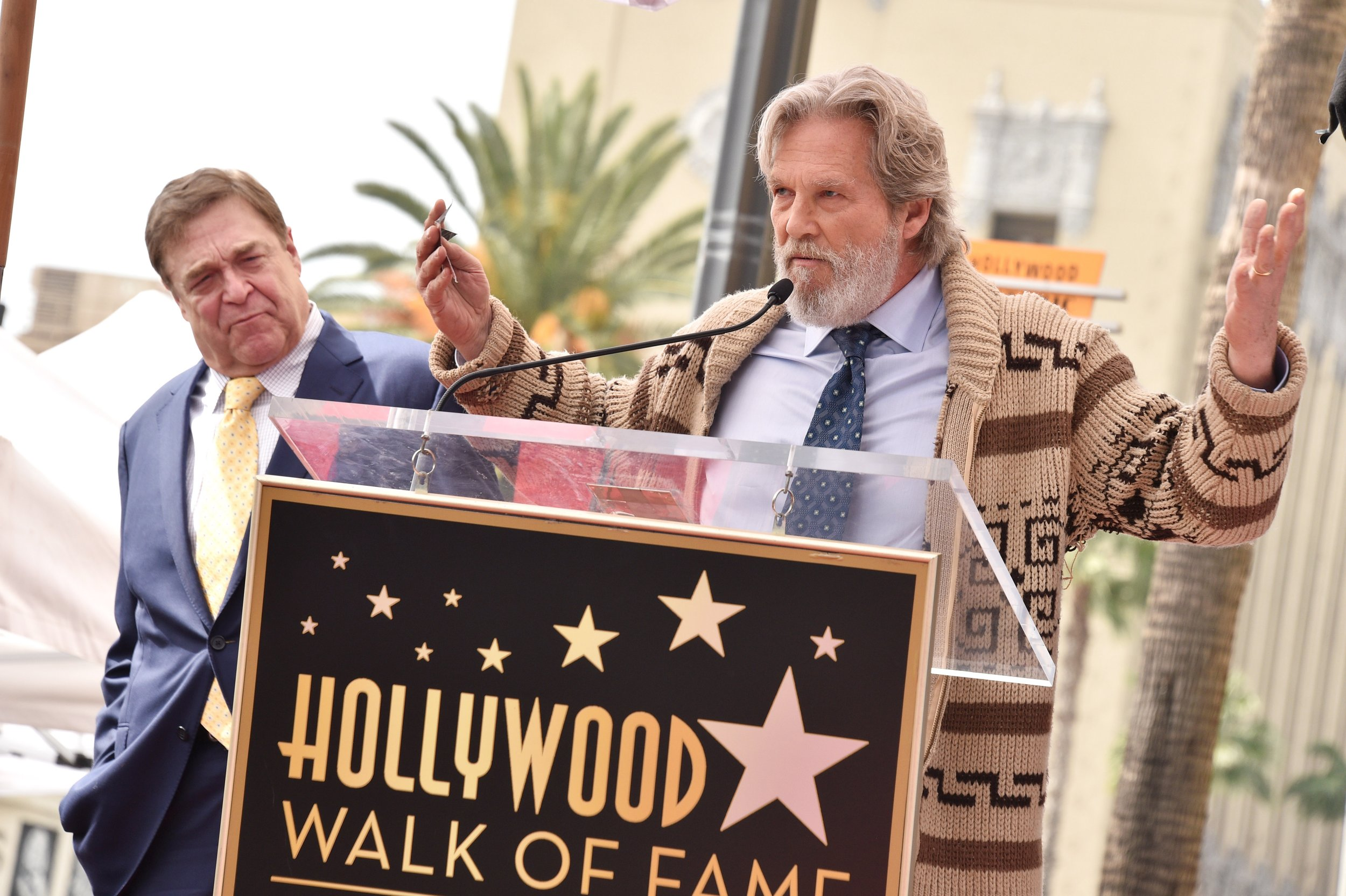 The Dude is back! Jeff Bridges gets back into character to honour co-star John Goodman on Walk Of Fame