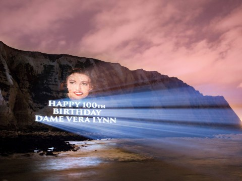 Dame Vera Lynn's face projected onto white cliffs of Dover to mark her 100th birthday