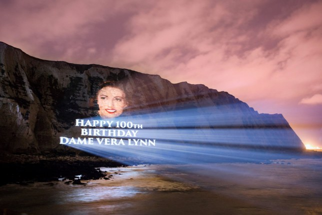 EMBARGOED TO 0001 MONDAY MARCH 20 Undated handout from a practice run issued by Decca Records of a Dame Vera Lynn portrait projected onto the White Cliffs of Dover to celebrate Dame Vera's 100th birthday and release of her new album 'Vera Lynn 100'. PRESS ASSOCIATION Photo. Issue date: Monday March 20, 2017. Dame Vera, who reached the milestone on Monday, was a source of inspiration for soldiers and their loved ones during World War Two thanks to her uplifting songs. See PA story SHOWBIZ Lynn. Photo credit should read: Decca Records/PA Wire NOTE TO EDITORS: This handout photo may only be used in for editorial reporting purposes for the contemporaneous illustration of events, things or the people in the image or facts mentioned in the caption. Reuse of the picture may require further permission from the copyright holder.