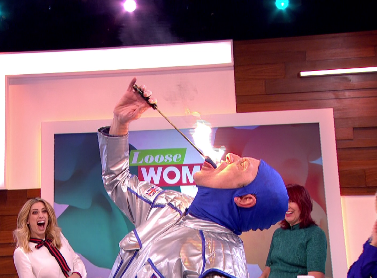 Brian Conley shocked the Loose Women when he started fire eating
