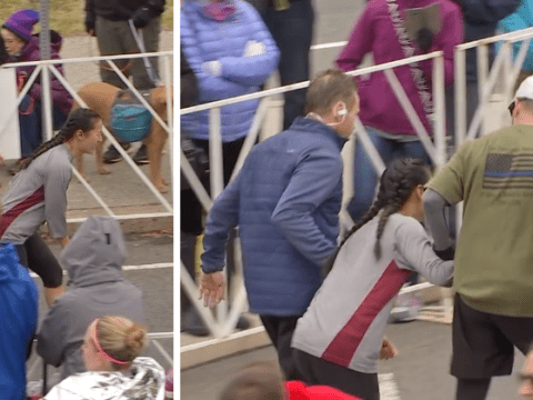 These half-marathon runners helped an exhausted runner cross the finish line