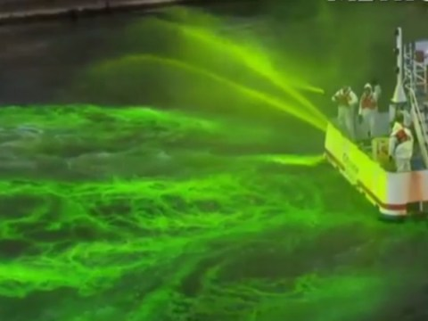 Chicago has turned its entire river bright green for St Patrick's Day