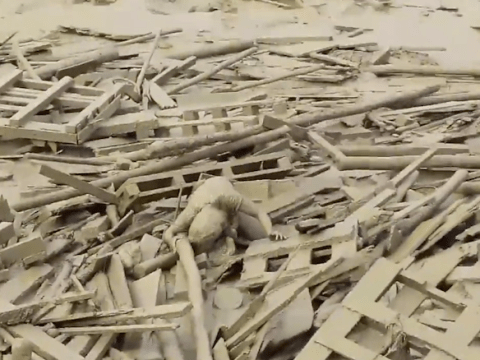 Incredible footage shows woman crawl out from raging mudslide