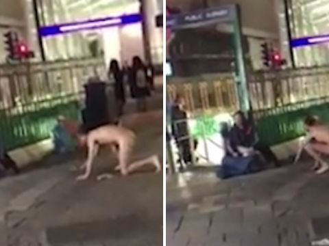 Naked man 'crawled after homeless man and chased him down street'