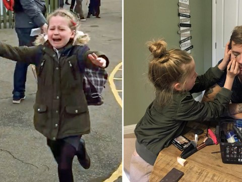 Girl cries with happiness after dad returns from four-month trip to Antarctica