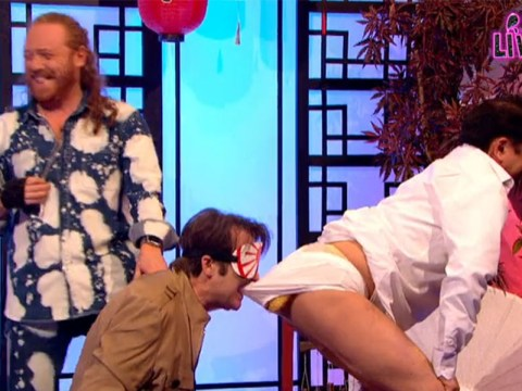 Jonathan Ross ate a pasty hidden in a man's pants on Celebrity Juice Live