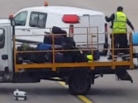 Baggage handlers filmed lobbing checked-in suitcases at Luton Airport