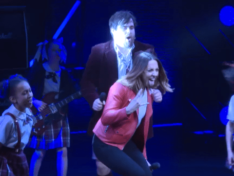 Watch Mel C jump on stage and join the cast of School Of Rock for a very special encore