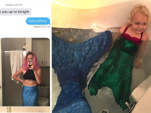 This girl deserves a 'Best Babysitter' award after dressing up as a mermaid