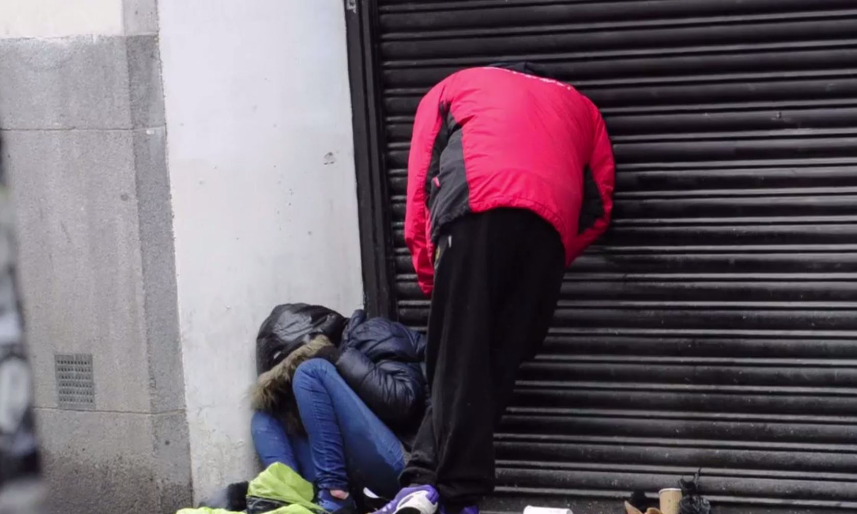 Homeless people appear to be like statues after taking Spice