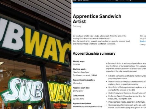 Subway criticised for paying apprentices just £3.50 an hour