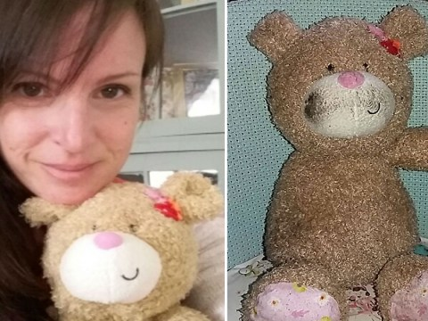 This woman is trying to get a poor, lost teddy bear home to its original owners