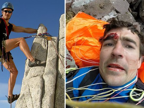 Paraglider's selfie moments after crashing into mountain shattering his back