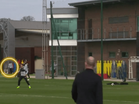 Georginio Wijnaldum curls brilliant finish from behind the goal in Liverpool training